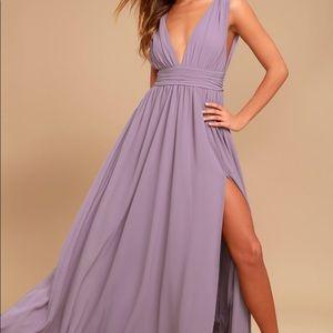 Lulus heavenly hues dusty purple maxi dress